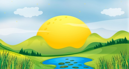 pict: Illustration of a sunset view Illustration