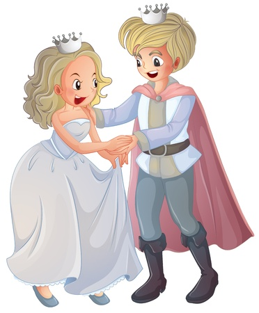 royal family: Illustration of a boy and a girl on a white background