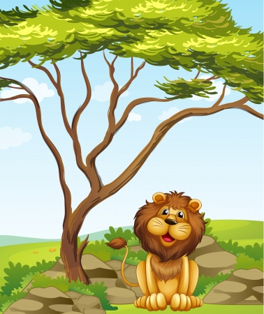 Illustration of a lion sitting under a big tree Stock Vector - 17889432