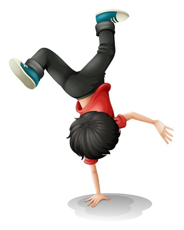 balancing: Illustration of a young boy balancing on a white background