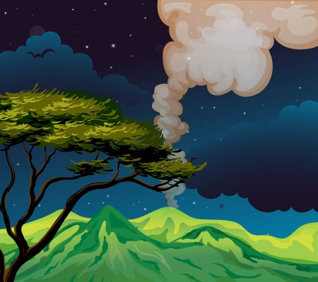 Illustration of a view of the mountain in the middle of the night Vector