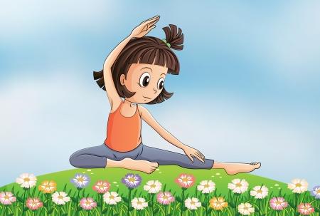 Illustration of a girl doing yoga in the garden