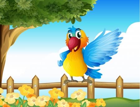 Ilustración de un colorido loro de pie en una valla