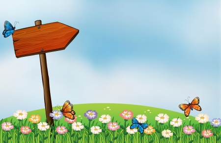 pic  picture: Illustration of an arrow signboard and the butterflies