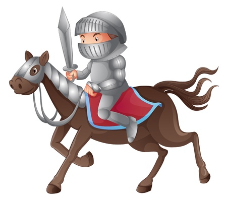 cartoon knight: Illustration of a solder riding a horse on a white background