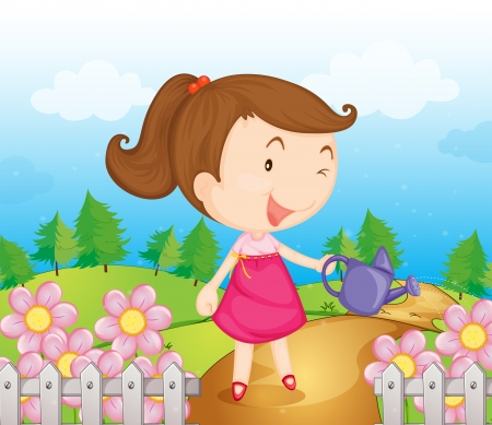 Illustration of a smiling girl with water can Stock Vector - 17889540