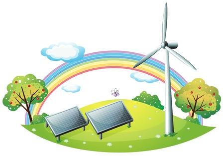 windfarm: Illustrazione di un mulino a vento e pannelli ad energia solare su uno sfondo bianco