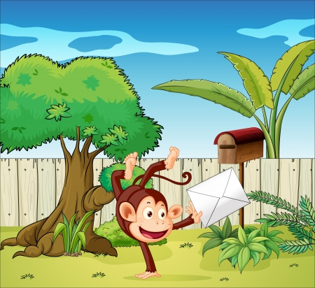mailman: Illustration of a monkey holding an envelope