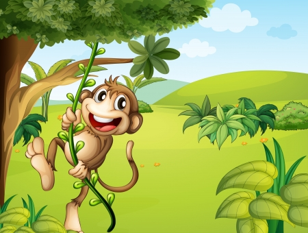 cute cartoon monkey: Illustration of a hanging monkey and a beautiful nature
