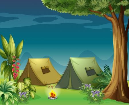 lägereld: Illustration av tält i djungeln