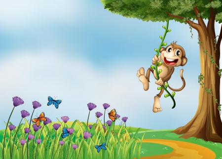 Illustration of a monkey hanging on a vine plant