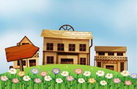 Afbeelding van een pijl en de huizen
