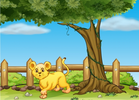Illustration of a young tiger under a big tree Vector