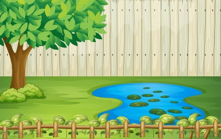 Illustration of a tree, a pond and a beautiful landscape Vector