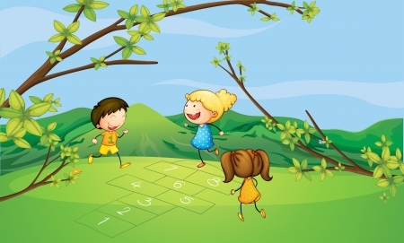 hopscotch: Illustration of kids playing near the mountain Illustration