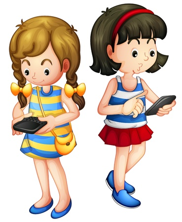 cellphone in hand: Illustration of two girls holding a gadget on a white background Illustration