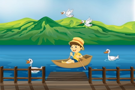 birds lake: Illustration of a boy riding on a wooden boat