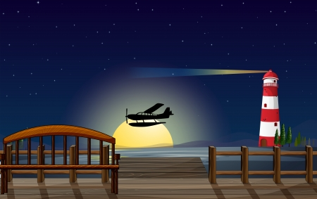 Illustration of a light house, an airplane and a sea in a dark night Stock Vector - 17889608