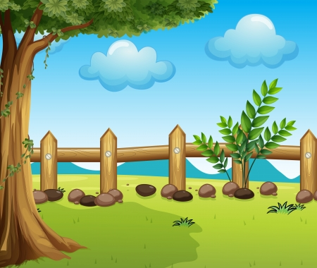 Illustration of a big tree inside a fence Stock Vector - 17880292