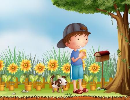 buzon: Ilustración de un niño y un perro en una hermosa naturaleza