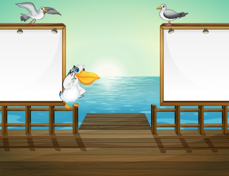 pict: Illustration of birds in the port
