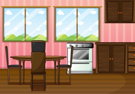 empty chair: Illustration of a clean dining room Illustration