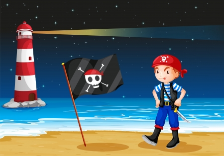 pict: Illustration of a pirate and a lighthouse Illustration