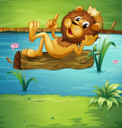 Illustration of a smiling lion on a dry wood in a river Stock Vector - 17890034