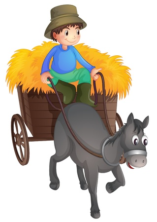 hand cart: Ilustraci�n de un hombre con un caballo en un fondo blanco Vectores