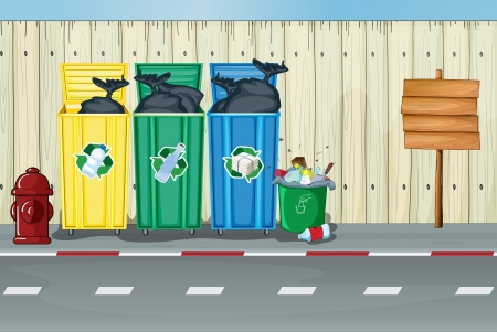 water can: Illustration of dustbins, a fire hydrant and a notice board on a roadside