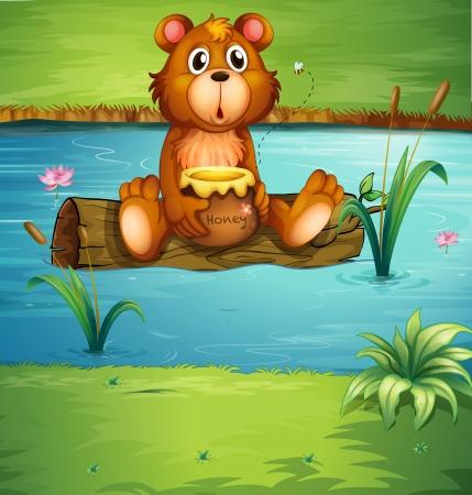 dode bladeren: Illustratie van een beer zittend op een droog hout in een rivier