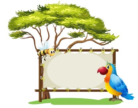 animal frame: Illustration of a parrot and a bee on a white background Illustration