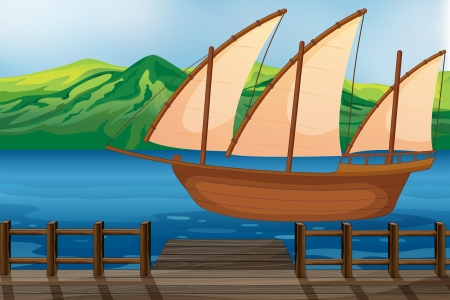 wharf: Illustration of a wooden ship