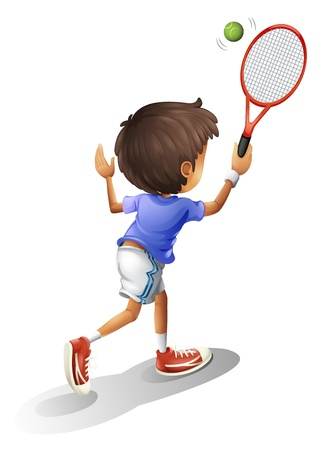 raquet: Illustration of a kid playing tennis on a white background Illustration