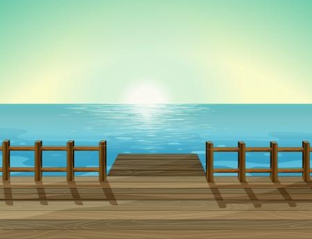 Ilustración de una vista del puerto y el mar