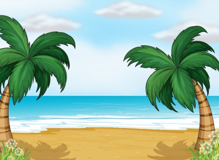 pict: Illustration of coconut trees in the seashore Illustration