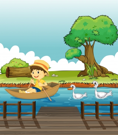 Illustration of a boy riding on a boat followed by ducks Vector