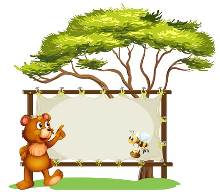 Illustration of a notice board, a bear and a honey bee on a white background Stock Vector - 17895494