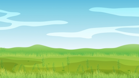 pict: Illustration of an empty field under a clear blue sky