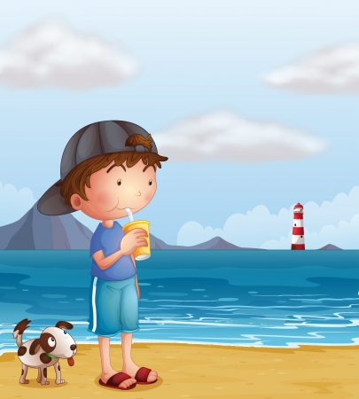 parola: Illustration of a boy and his pet at the beach Illustration