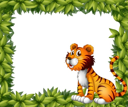animal border: Illustration of a tiger sitting in a leafy frame