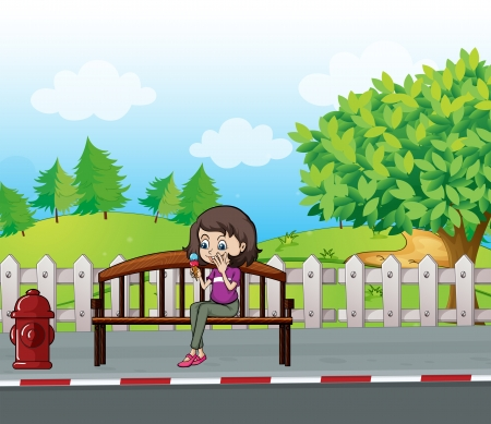 Illustration of a smiling girl sitting on a bench Vector