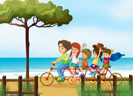 Illustration of happy kids and bicycle on a beach Vector