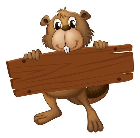 nutria caricatura: Ilustración de un castor con un tablero de la muestra sobre un fondo blanco