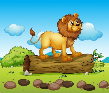 Illustration of a lion standing above a trunk of a tree Stock Vector - 17895681