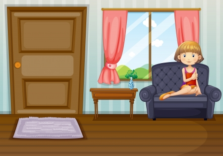 Illustration of a girl in the living room Stock Vector - 17895668