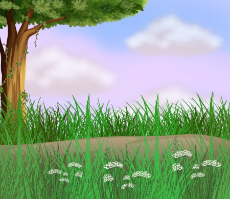 pict: Illustration of grasses along the road Illustration