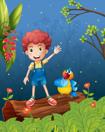 forest clipart: Illustration of a boy and a parrot in the woods