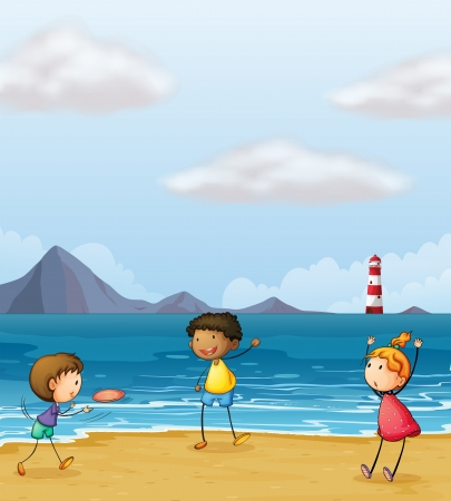 Illustration of children playing at the seashore Stock Vector - 17895789