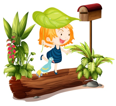 plant stand: Illustration of a girl and a bird on a white background